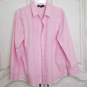 Jones New York Signature pink white striped blouse